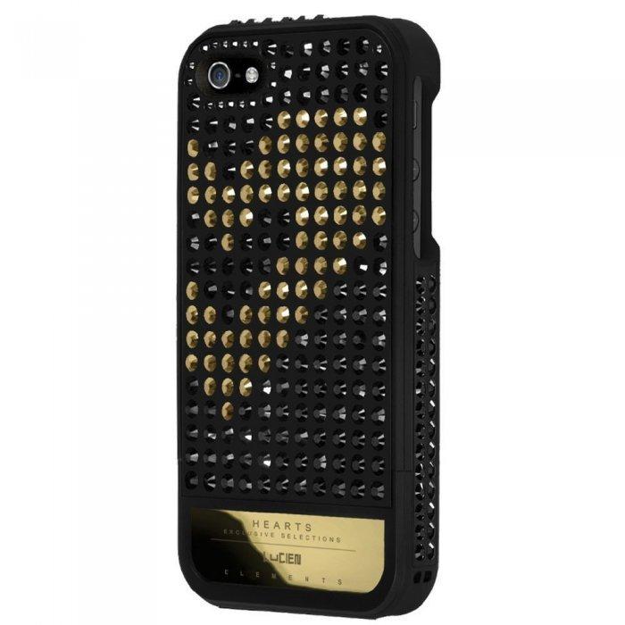 Чехол-накладка для Apple iPhone 5S/5 - Lucien Elements Hearts Exclusive Selections чёрный + золотистый