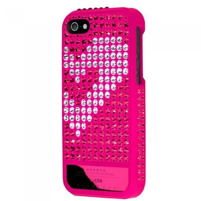 Чехол-накладка для Apple iPhone 5S/5 - Lucien Elements Hearts Exclusive Selections Rose III розовый + белый