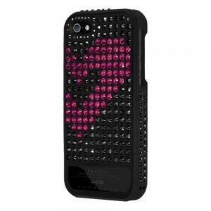 Чехол-накладка для Apple iPhone 5S/5 - Lucien Elements Hearts Exclusive Selections чёрный + розовый