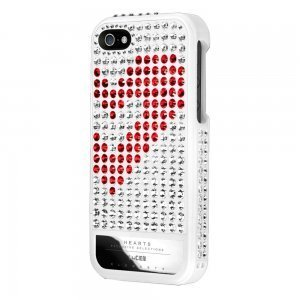 Чехол-накладка для Apple iPhone 5S/5 - Lucien Elements Hearts Exclusive Selections белый + красный