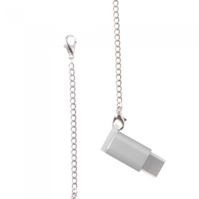 Переходник с Micro-USB на Type-C - COTEetCI M31 серебристый