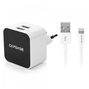 Сетевое зарядное устройство Capdase Cube K2 Lightning, 2 USB, 2.4 A, белое