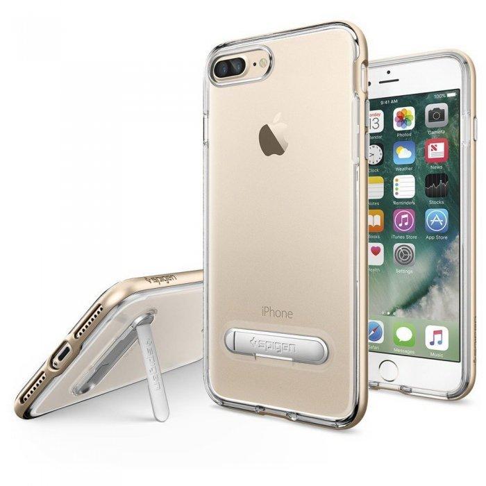 Чехол с подставкой Spigen Crystal Hybrid прозрачный + золотой для iPhone 8 Plus/7 Plus