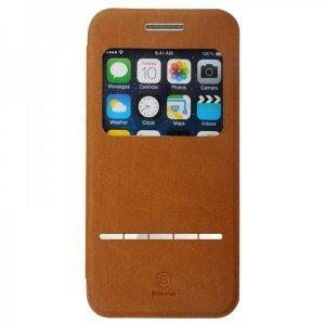 Кожаный чехол (книжка) Baseus Terse коричневый для iPhone 6/6S