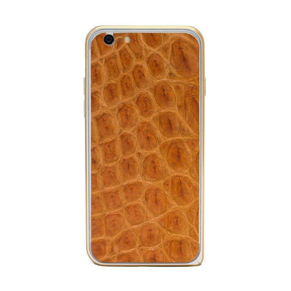 Наклейка для Apple iPhone 6/6S - кожа крокодила, коричневая