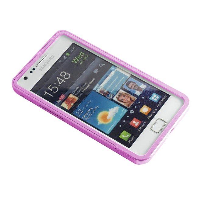 Металлический бампер для Samsung Galaxy S2 розовый