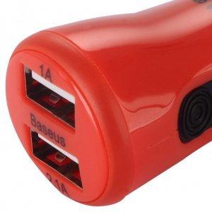Автомобильное зарядное устройство Baseus Tiny-color 2 USB красное