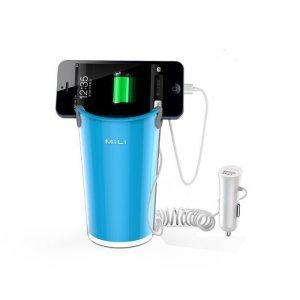 Автомобильное зарядное устройство + держатель для смартфонов и планшетов - Mili World Cup голубое