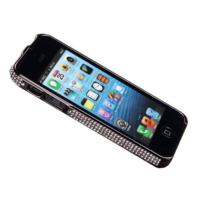 Чехол-бампер для Apple iPhone 5/5S - NewSH Swarovski design Diamond Aluminum черный