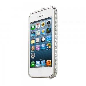 Бампер со стразами NewSH Swarovski Diamond Aluminum серебристый для iPhone 5/5S/SE