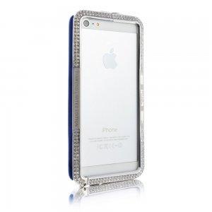 Чехол-бампер для Apple iPhone 5/5S - NewSH Swarovski design Zink синий