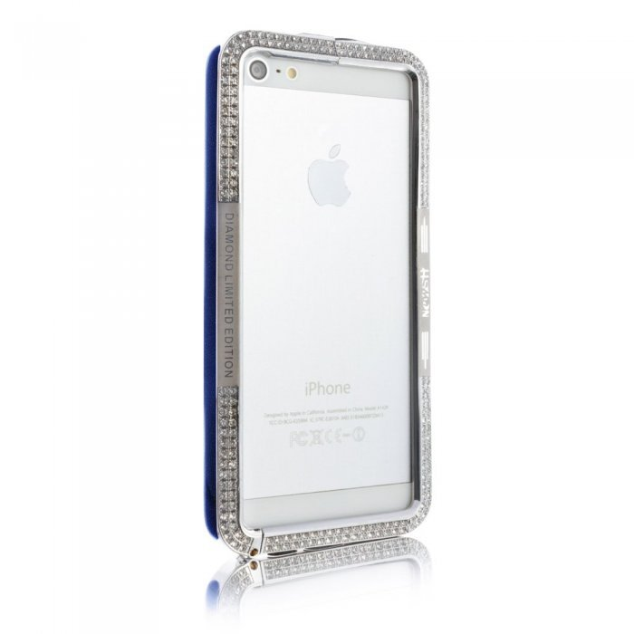 Чехол-бампер для Apple iPhone 5/5S - NewSH Swarovski design Zink синий