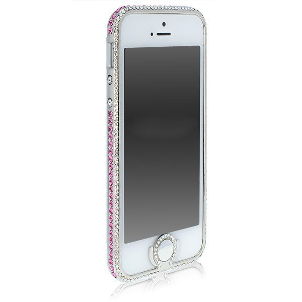 Чехол-бампер для Apple iPhone 5/5S - NewSH Zink Hidden button серебристый + розовый