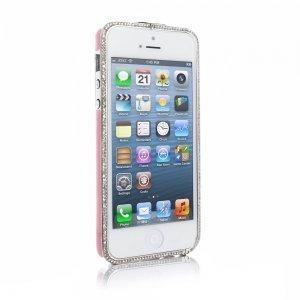 Чехол-бампер для Apple iPhone 5/5S - NewSH Swarovski design Zink розовый