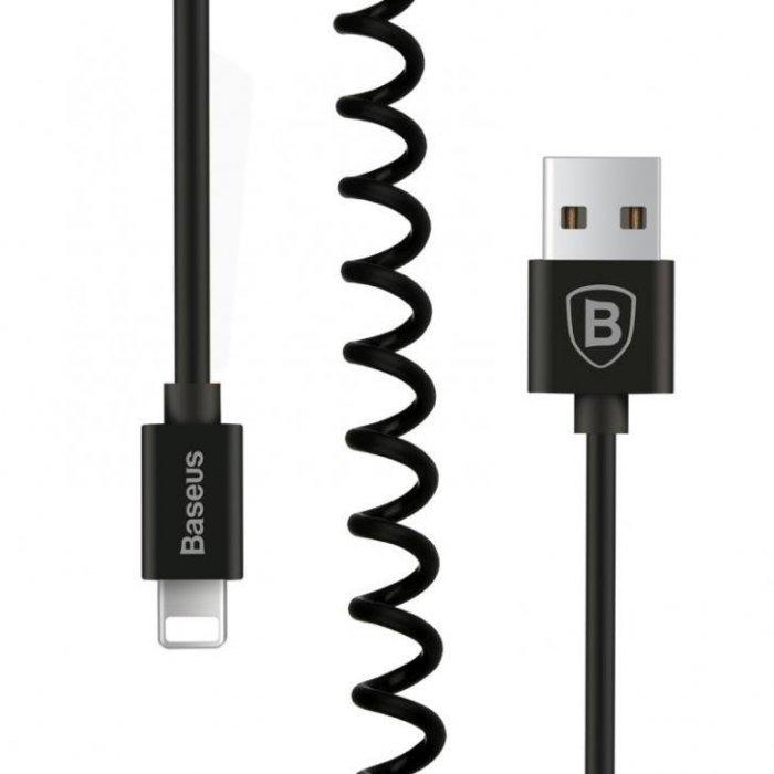 Кабель спиральный Baseus Elastic Lightning черный для iPad, iPhone, iPod