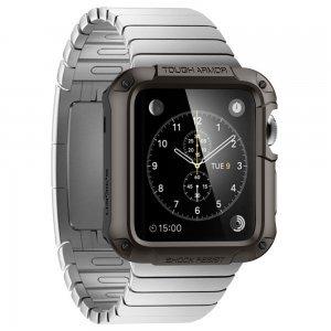 Чехол-накладка для Apple Watch 42mm - Spigen Tough Armor черный (РЕПЛИКА)