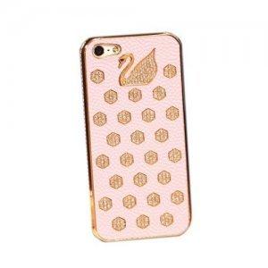 Чехол-накладка для Apple iPhone 5/5S - NewSH Swarovski Swan розовый