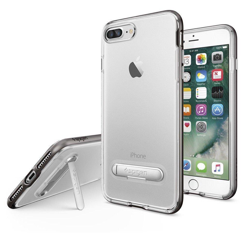 Чехол с подставкой Spigen Crystal Hybrid прозрачный + серый для iPhone 8 Plus/7 Plus