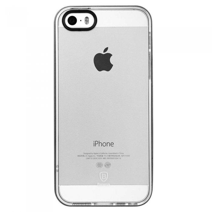 Силиконовый чехол Baseus Soft Feather прозрачный + черный для iPhone 5/5S/SE