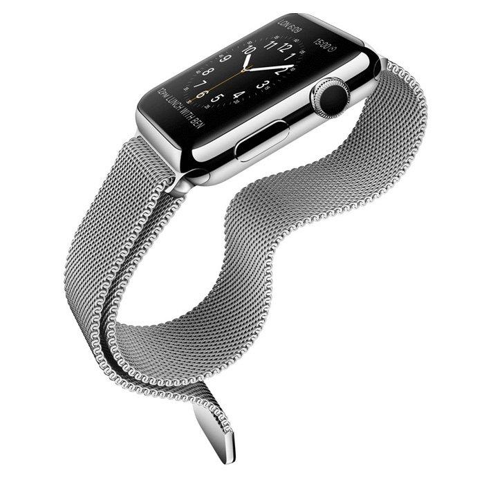 Ремешок для Apple Watch 42/44 мм - iBacks Milanese Stainlesse Steel серебристый