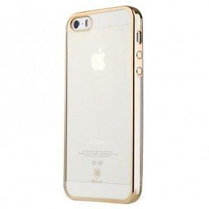 Силиконовый чехол Baseus Shining золотой для iPhone 5/5S/SE