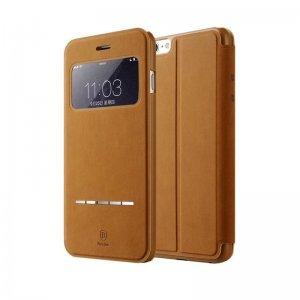 Кожаный чехол (книжка) Baseus Terse коричневый для iPhone 6/6S Plus
