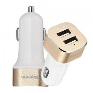 Автомобильное зарядное устройство Baseus Smart voyage 2 USB, 2.4 Amp, золотистый + белый