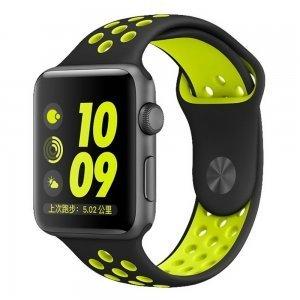 Ремешок Coteetci W12 Nike черный + желтый для Apple Watch 42/44 мм