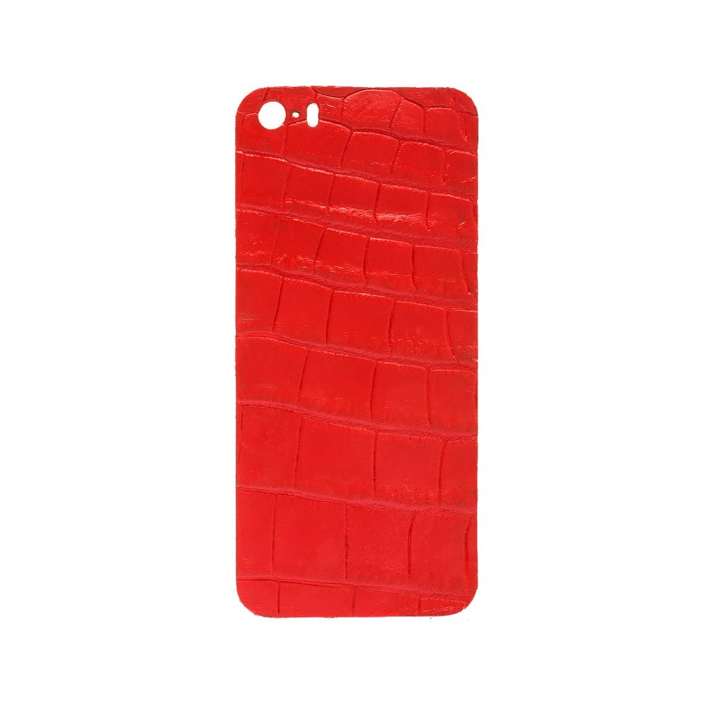 Наклейка на iPhone 5/5S - кожа крокодила, красная