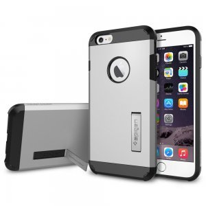 Чехол-накладка для Apple iPhone 6 Plus - Spigen Case Tough Armor серебристый