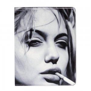 Чехол-книжка для Apple iPad 2/3/4 - Angelina Jolie черный + белый