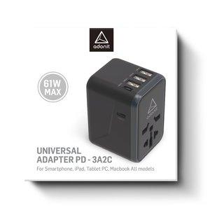 Сетевое зарядное устройство Adonit Universal Adapter PD-3A2C 61W черное