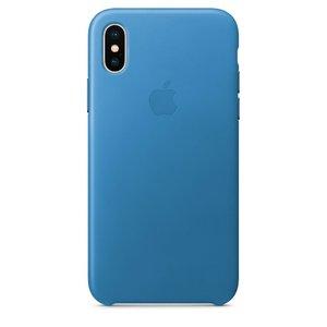 Кожаный чехол Apple Leather Case светло-синий для iPhone X (реплика)