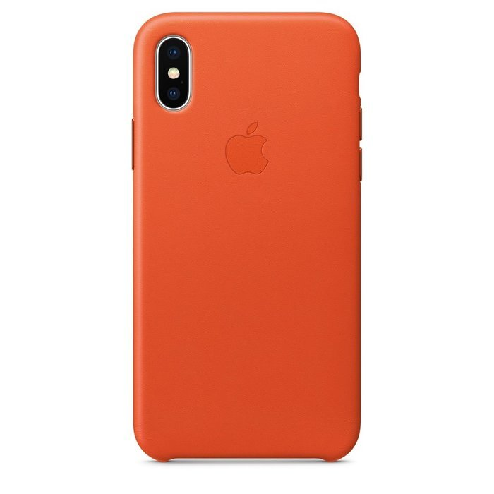 Кожаный чехол Apple Leather Case оранжевый для iPhone X (реплика)