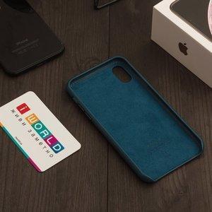 Кожаный чехол Apple Leather Case темно-синий для iPhone X (реплика)