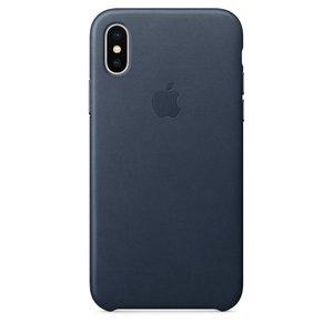 Кожаный чехол Apple Leather Case синий для iPhone X (реплика)