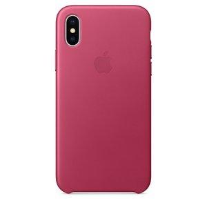 Кожаный чехол ярко-розовый для iPhone X