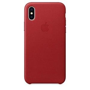 Кожаный чехол Apple Leather Case красный для iPhone X (реплика)