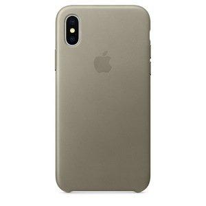 Кожаный чехол Apple Leather Case серый для iPhone X (реплика)