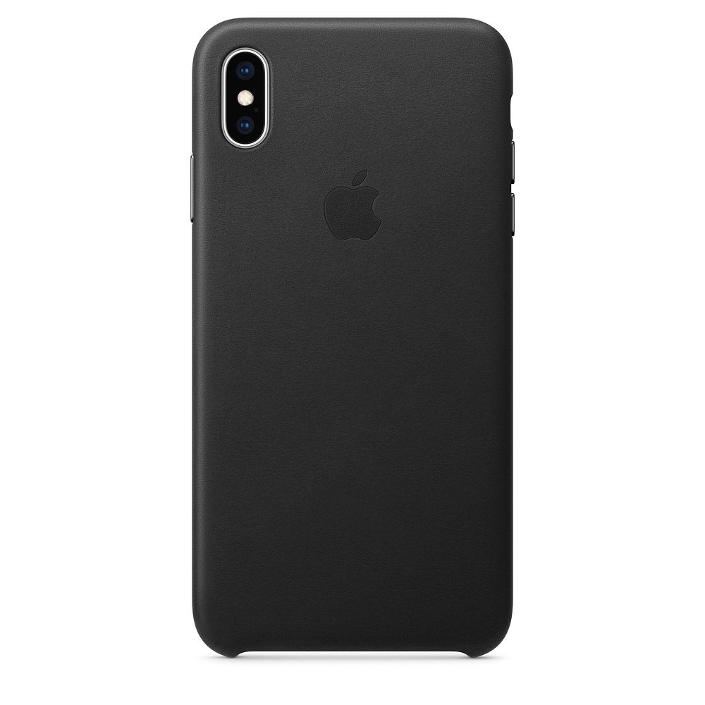 Чехол Apple Leather Case чёрный для iPhone XS Max (реплика)