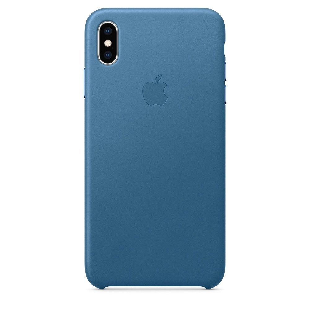 Чехол Apple Leather Case синий для iPhone XS Max (реплика)