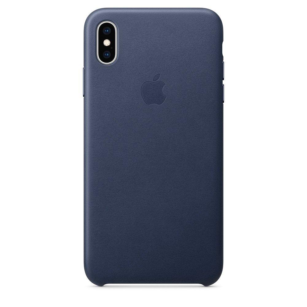 Чехол Apple Leather Case темно-синий для iPhone XS Max (реплика)