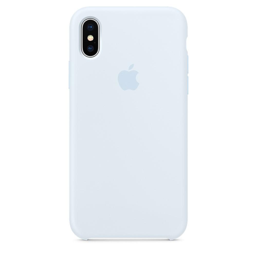 Чехол Apple Silicone Case небесный синий для iPhone X (реплика)