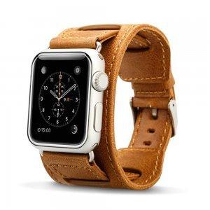 Ремешок для Apple Watch 38mm - Jisoncase Genuine leather Vintage edge folded with adapter коричневый