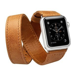 Ремешок для Apple Watch 38/40 мм - Jisoncase Genuine leather Vintage edge folded with adapter коричневый