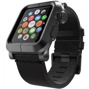 Чехол-ремешок для Apple Watch - LunaTik EPIK 2 черный поликарбонат + черный кожаный ремешок
