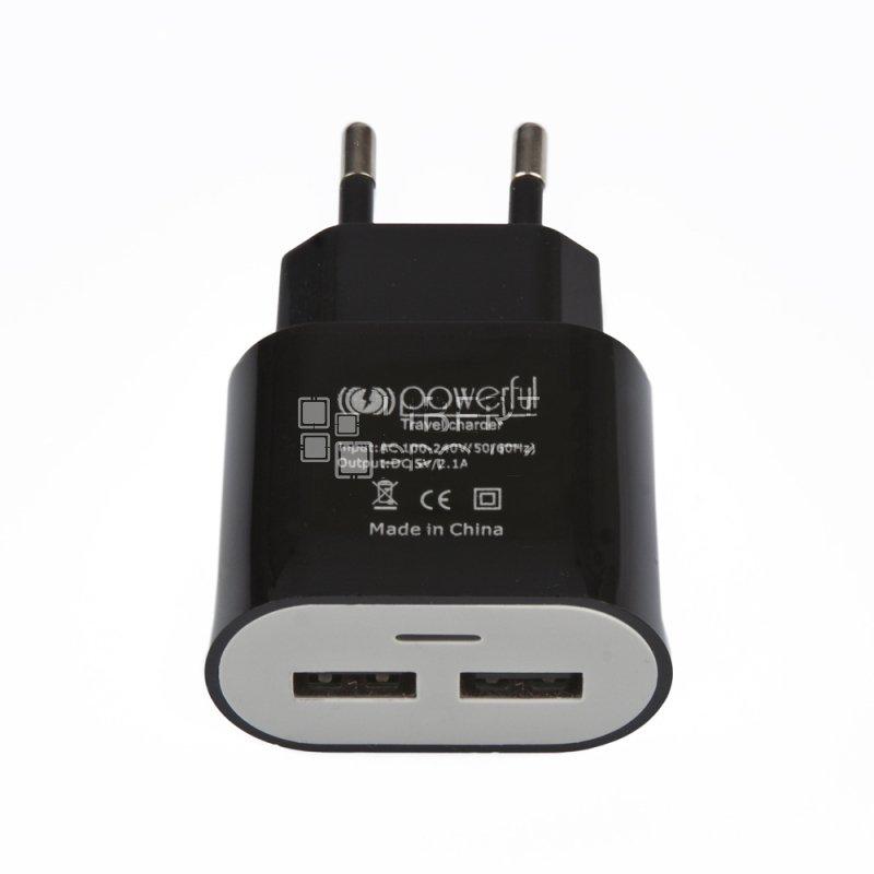 Сетевое зарядное устройство Travel Charger 2 USB черное