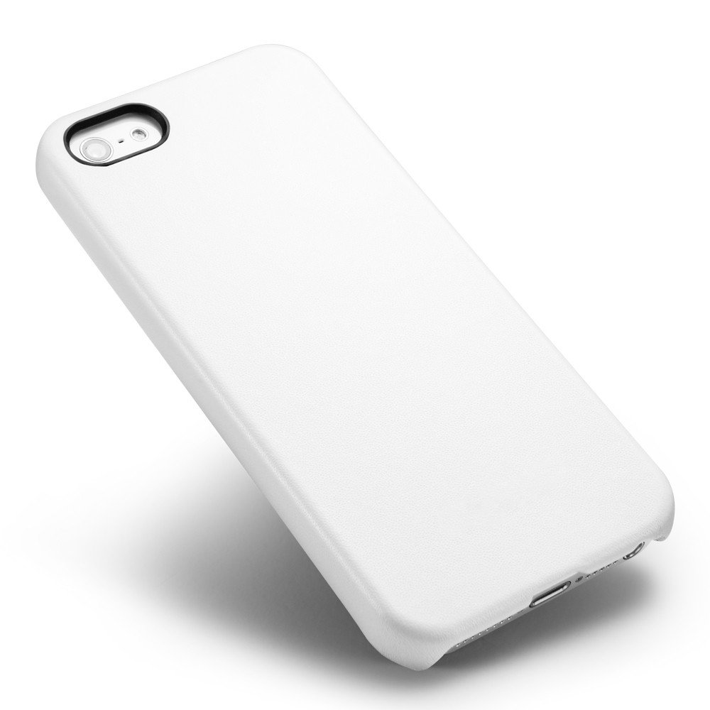 Кожаный чехол Leather Hard Case белый для iPhone 5/5S/SE