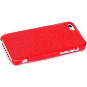 Чехол-накладка для Apple iPhone 5/5S - Leather Hard Case красный