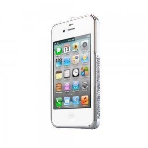 Чехол-бампер для Apple iPhone 4/4S - NewSH Swarovski design серебристый